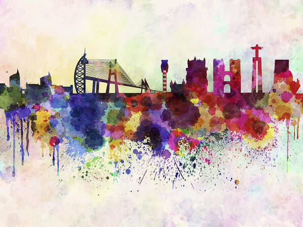 Lisbon Skyline In Watercolor Background Poster