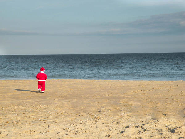 Little Santa On The Beach Poster
