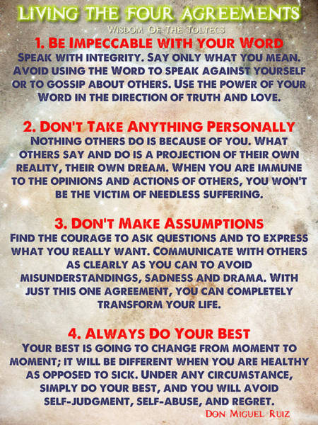 Living The Four Agreements - Wisdom Of The Toltecs Poster