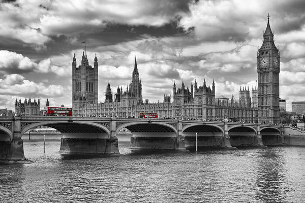 London - Houses Of Parliament And Red Buses Poster
