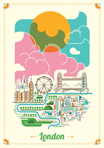 London Illustration In Color. Vector Poster