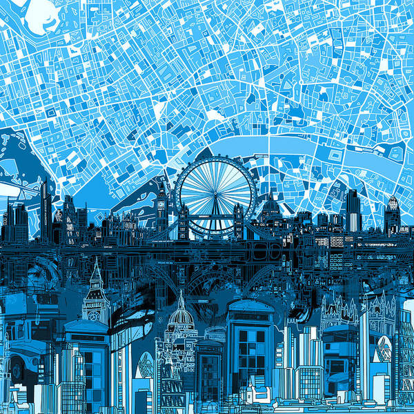 London Skyline Abstract Blue Poster