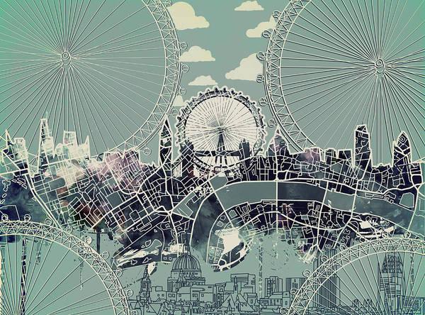 London Skyline Vintage Poster