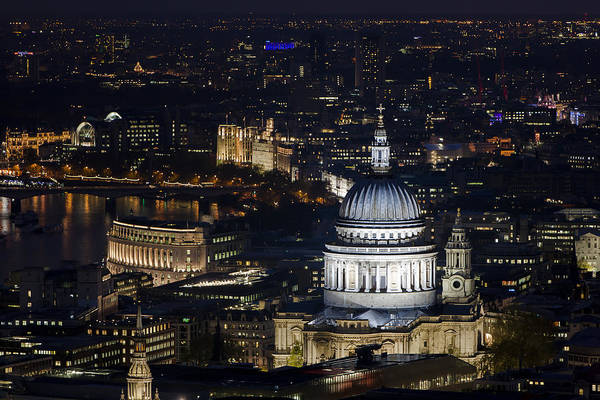 London St Pauls At Night Colour Poster