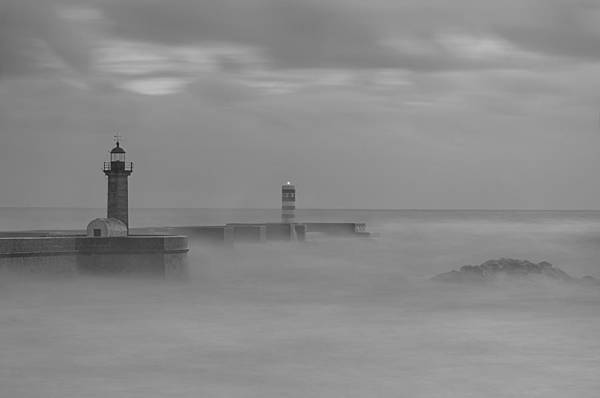 Long Exposure In Oporto In Bad Weather Poster