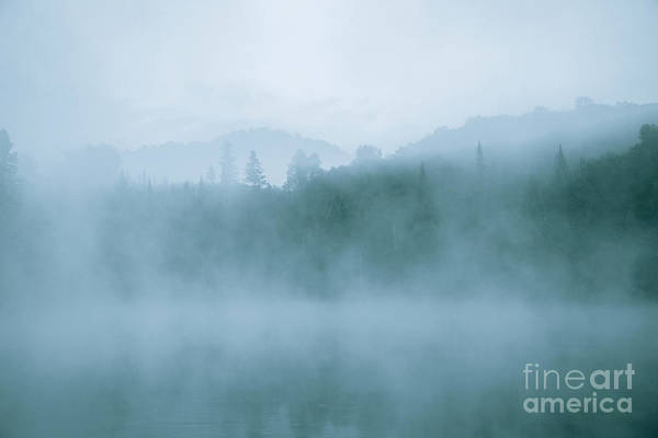 Lost In Fog Over Lake Poster