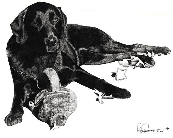 Poster featuring the drawing Lounging Lab by Rob Christensen