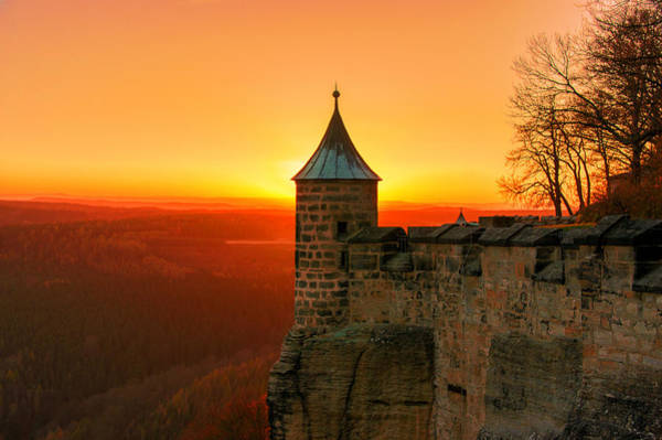 Low Sun On The Fortress Koenigstein Poster