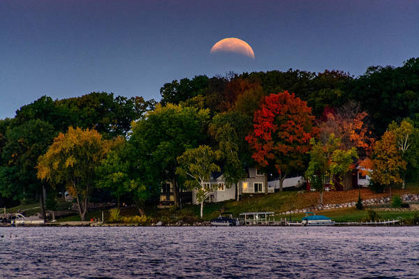 Lunar Eclipse Over Pewaukee Lake Poster
