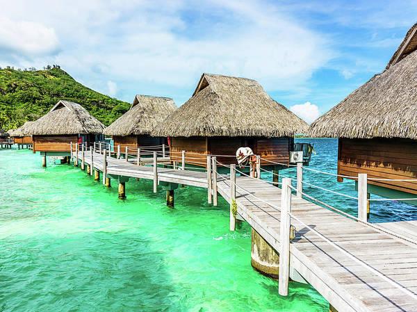 Luxury Hotel Resort Beach Huts Polynesia Poster