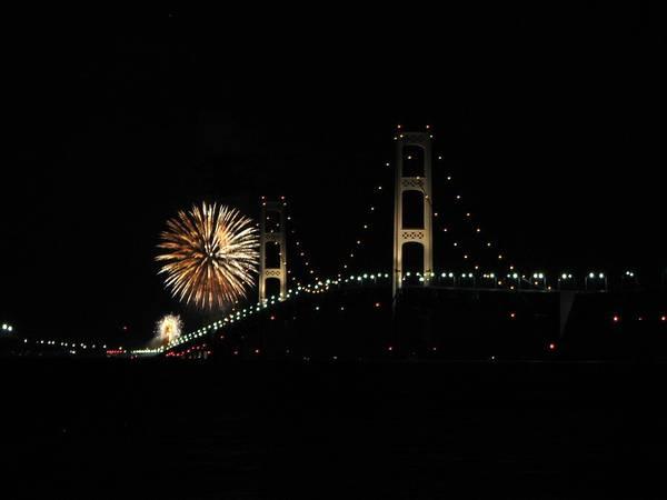 Mackinac Bridge 50th Anniversary Fireworks Poster