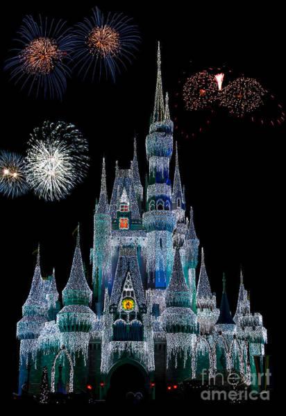 Magic Kingdom Castle Frozen Fireworks Poster