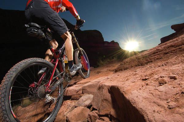 Man Mountain Biking On Porcupine Rim Poster