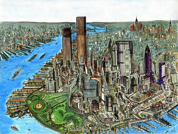 New York Downtown Manhattan 1972 Poster