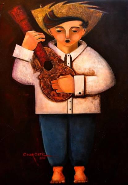 Poster featuring the painting Manolito El Cuatrista 1942 by Oscar Ortiz