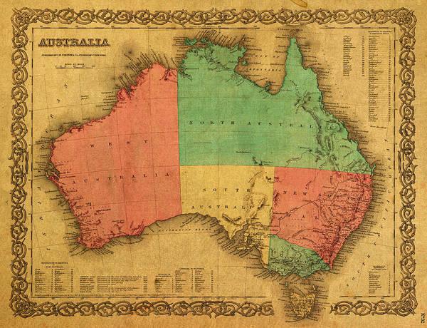 Map Of Australia Vintage 1855 On Worn Canvas Poster