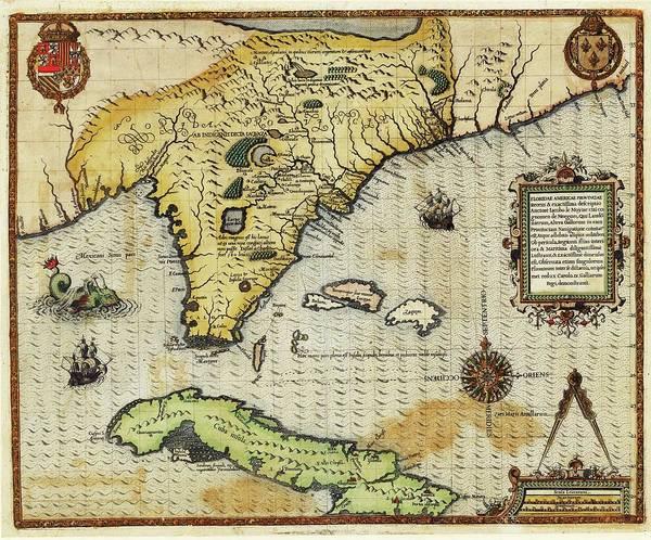Map Of Florida And Cuba Poster