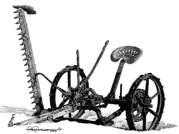 Poster featuring the drawing Maple Lake Mower by Rob Christensen