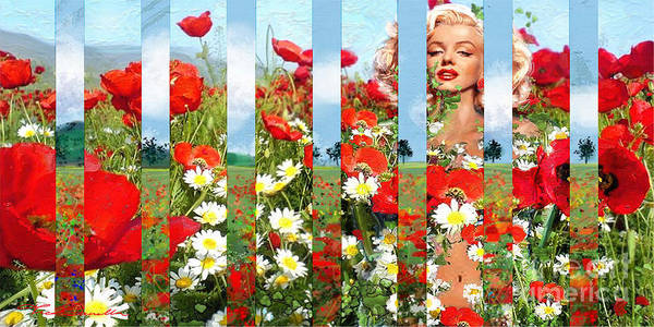 Marilyn In Poppies 1 Poster