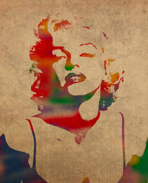 Marilyn Monroe Watercolor Portrait On Worn Distressed Canvas Poster