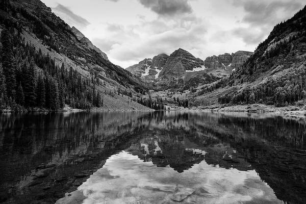 Maroon Bells - Aspen - Colorado - Black And White Poster
