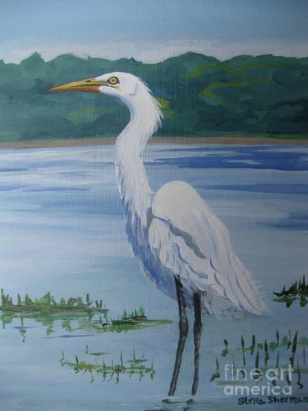 Marsh Land Egret Poster