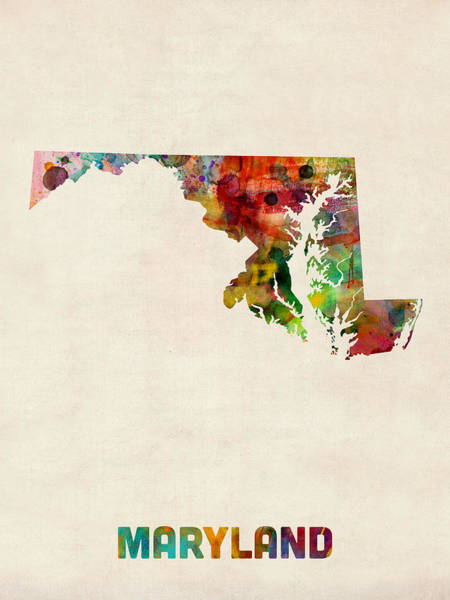 Maryland Watercolor Map Poster