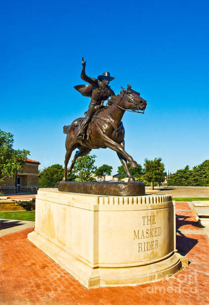 Poster featuring the photograph Masked Rider Statue by Mae Wertz