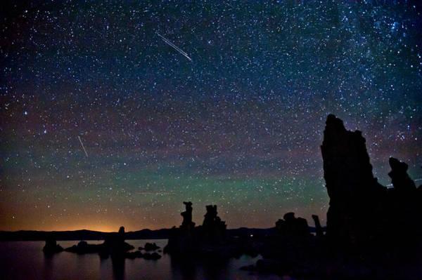Meteors Over Mono Lake Poster