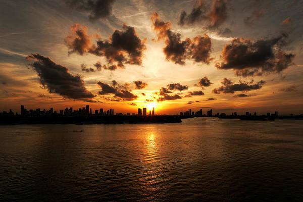 Miami Skyline Sunset Poster