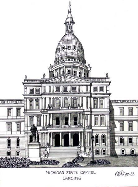 Michigan State Capitol Poster