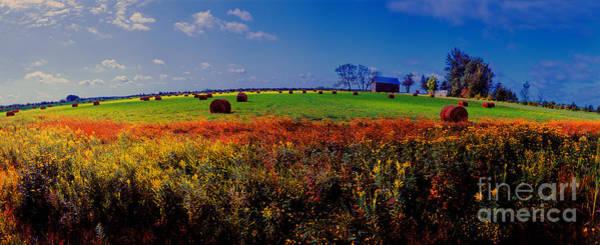 Michigan Uper  Farm Barn And Rolls Of Hay Brimly Michigan Poster