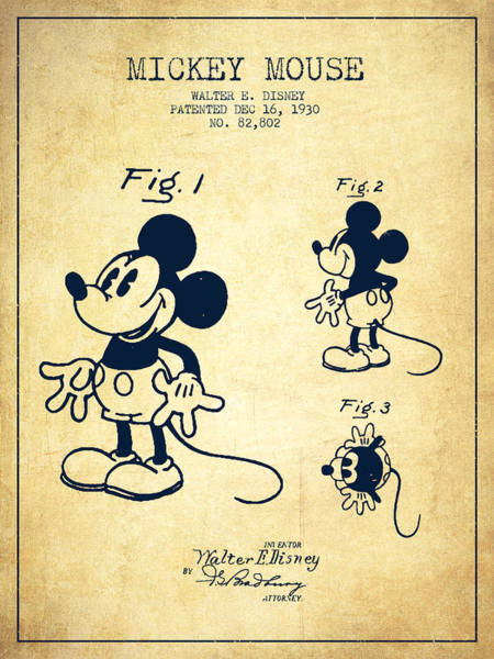 Mickey Mouse Patent Drawing From 1930 - Vintage Poster