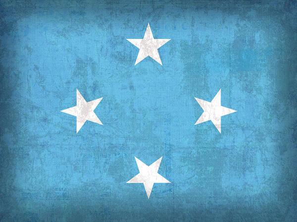 Micronesia Flag Vintage Distressed Finish Poster