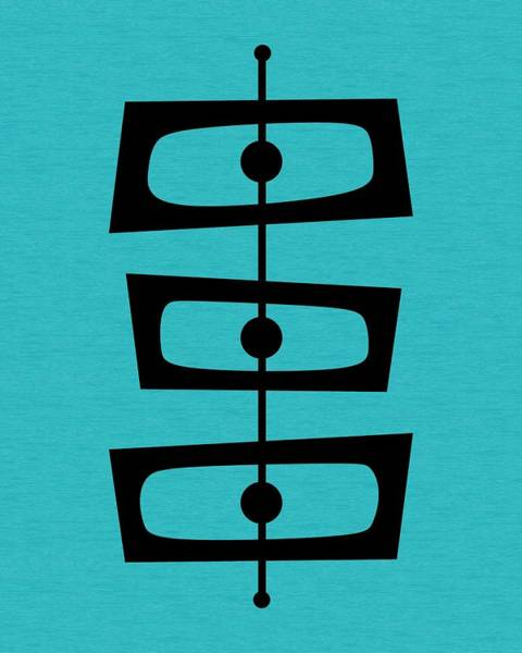Mid Century Shapes On Turquoise Poster
