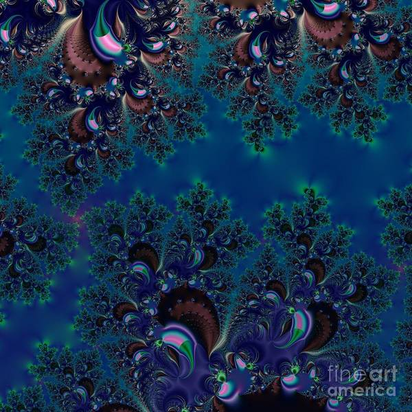 Midnight Blue Frost Crystals Fractal Poster