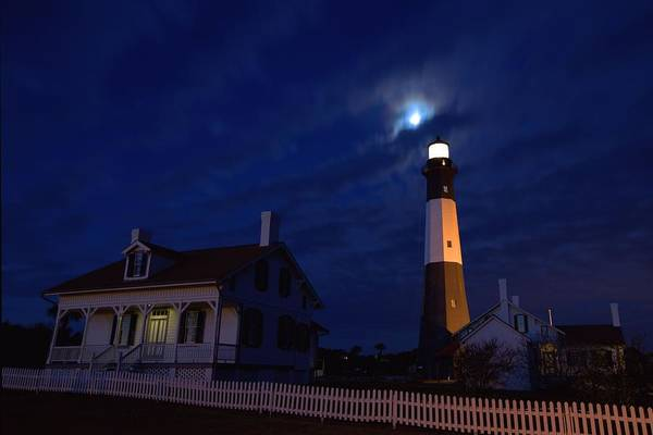 Midnight Moon Over Tybee Island Poster