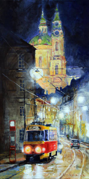 Midnight Tram  Prague  Karmelitska Str Poster