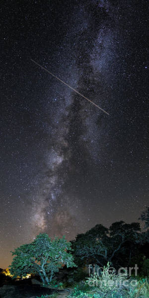 Milky Way Vertical Panorama At Enchanted Rock State Natural Area - Texas Hill Country Poster