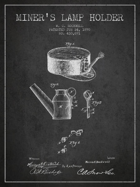 Miners Lamp Holder Patent From 1890 - Charcoal Poster