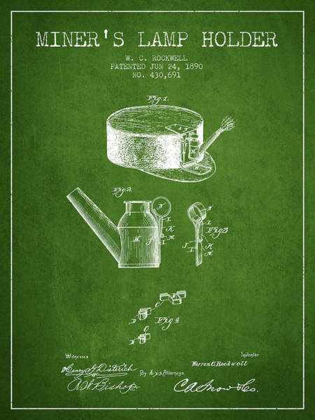 Miners Lamp Holder Patent From 1890 - Green Poster