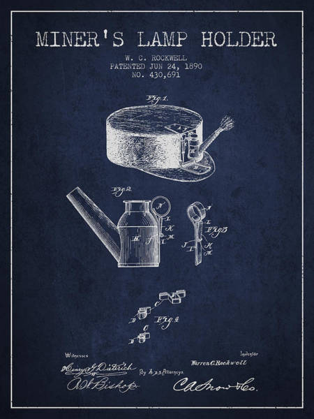 Miners Lamp Holder Patent From 1890 - Navy Blue Poster