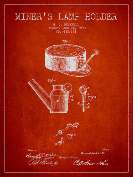 Miners Lamp Holder Patent From 1890 - Red Poster