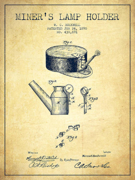 Miners Lamp Holder Patent From 1890 - Vintage Poster
