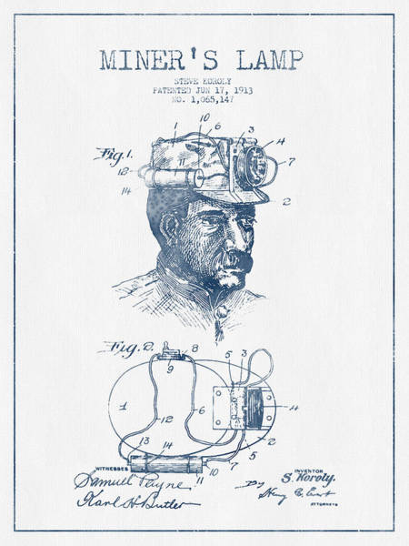 Miners Lamp Patent Drawing From 1913- Blue Ink Poster