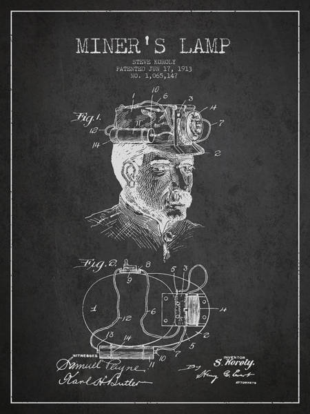 Miners Lamp Patent Drawing From 1913 - Dark Poster