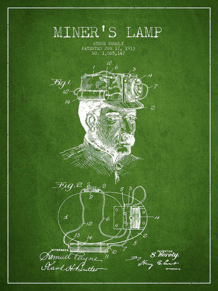 Miners Lamp Patent Drawing From 1913 - Green Poster