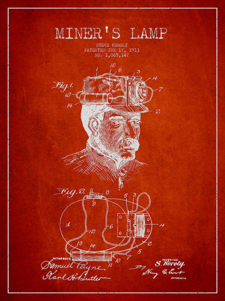 Miners Lamp Patent Drawing From 1913 - Red Poster