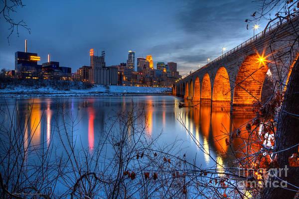 Minneapolis Skyline Images Stone Arch Bridge Spring Evening Poster