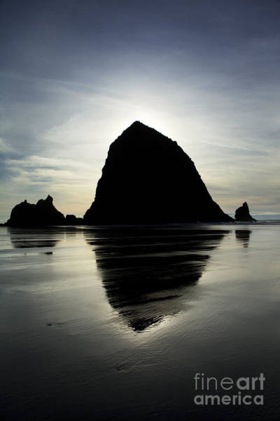 Mirrored Haystack Rock Poster
